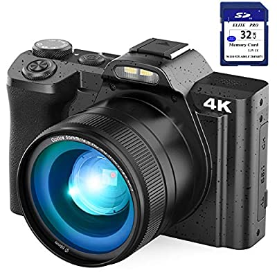 """4K Digital Camera Video Camera for YouTube, Kenuo 48MP Vlogging Camera Camcorder with WiFi, 3.5"""" IPS Touch Screen, Wide Angle Lens, 32GB SD Card, Time-Lapse, 16X Digital Zoom from Kenuo"""