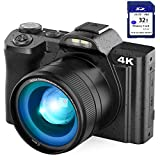 4K Digital Camera Video Camera for YouTube, Kenuo 48MP Vlogging Camera Camcorder with WiFi, 3.5' IPS Touch Screen, Wide Angle Lens, 32GB SD Card, Time-Lapse, 16X Digital Zoom