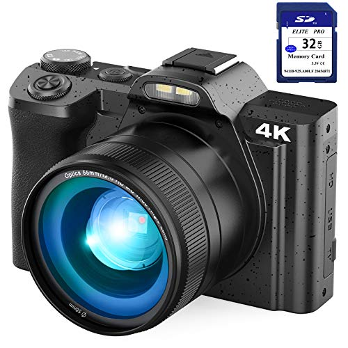 4K Digital Camera Video Camera for YouTube, Kenuo 48MP Vlogging Camera Camcorder with WiFi, 3.5″ IPS Touch Screen, Wide Angle Lens, 32GB SD Card, Time-Lapse, 16X Digital Zoom