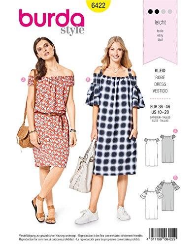 Burda 6422 Schnittmuster Kleid (Damen, Gr. 36-46) Level 2 leicht