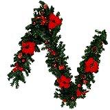 Windyeu - Guirnalda de árbol de Navidad artificial con flor, corona de mimbre navideño decorativa con piña de pino con lazos de mariposa, para decoración de chimenea y reposabrazos, color rojo