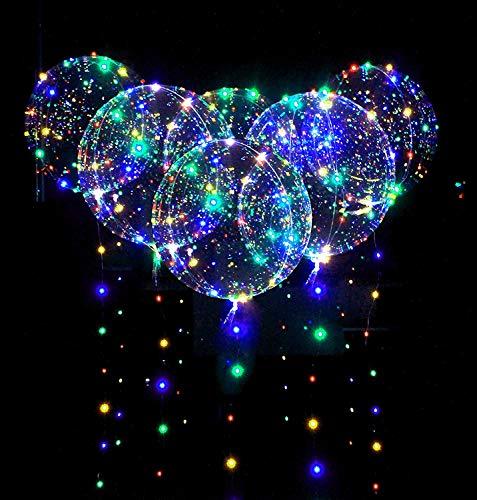 10 Stück LED Ballons Leuchtende Luftballons, 3M Lichtschläuche & 20 Zoll LED Bunte Bobo Helium Luftballons für Hochzeit, Party, Geburtstage, Weihnachten, Feste Dekoration