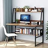 Tribesigns Computer Desk with Hutch and Bookshelf, 47 Inches Home Office Desk with Space Saving Design for Small Spaces (Retro Brown)