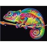 wen wall1 Pinturas por números Animales Imágenes camaleón Pintura al óleo por números Set Regalo para Colorear por números Set de Pared de Lona 40 * 50cm (Sin Marco)