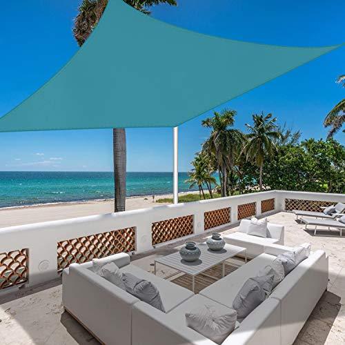 Jneaicn Toldo impermeable al aire libre, protección UV, cuadrado, lago azul, 3 x 3 m, playa, tiempo libre, flores, se puede utilizar en el patio de playa, aparcamiento, etc.