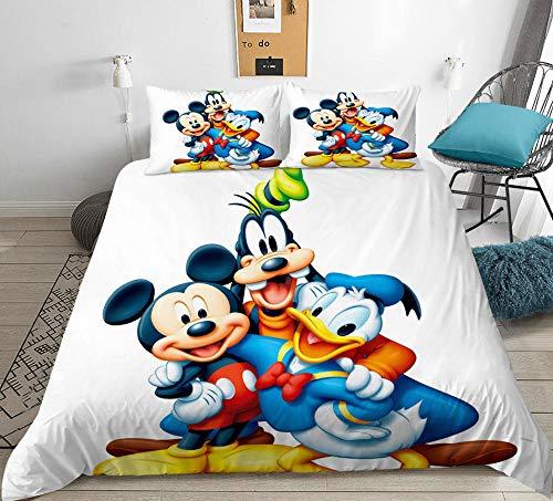 Dibujos animados para niños 3D anime Mickey Mouse funda nórdica juego de cama, dormitorio de niño niña cama doble individual funda edredón ropa de cama textiles para el hogar-H_200x200cm (3pcs