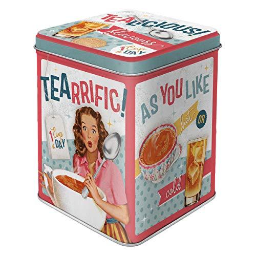 Nostalgic-Art Contenitori Retro Tealicious & Tearrific – Idea Regalo per la Cucina, Sfuso e bustine di tè, Design Vintage, 100 g