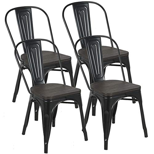 BONZY HOME Metal Dining Chairs with Wood Seat, Bistro Side Chair, Stackable Kitchen Chairs with High Back, Metal Wood Chairs for Farmhouse, Patio, Restaurant, Trattoria Bar,Set of 4 (Black)