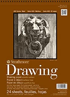 """Strathmore (400-108) 400 Series Drawing, Smooth Surface, 18""""x24"""", 24 Sheets 14x17"""" 400-107"""