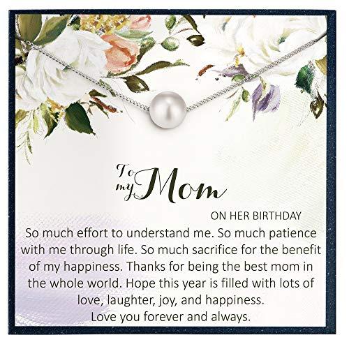 Grace of Pearl Regalo de cumpleaños para mamá en ella, joyería de cumpleaños regalo para madre de hija, madre, tarjeta de cumpleaños para madre