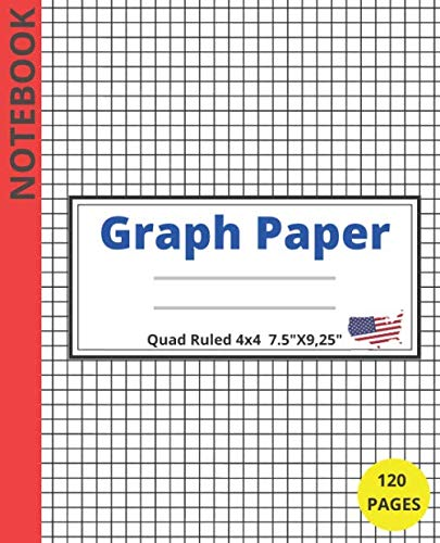 Graph Paper Notebook  Quad ruled 4x4  7.5' X 9,25' 120 pages.: Graph Note Book Pages , Quad Ruled(4x4) 120 Sheets,Grid Paper,(Large 7.5 x 9,25).