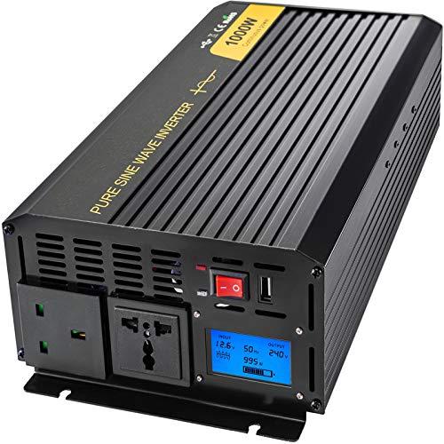 VEVOR Invertitore Onda Sinusoidale Pura, 1000W Inverter a Onda Sinusoidale Pura da DC 12V a AC 240V, con Schermo LCD e Indicatori LED, Invertitore di Potenza, Invertitore per Auto Protezione Multipla