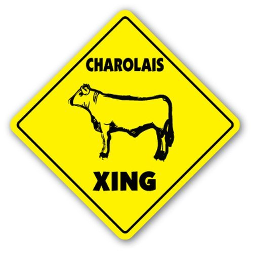 WallAdorn Charolais Crossing Xing Beef Ranch Farm Farmer Iron Poster Blechschild Vintage Wall Decor...
