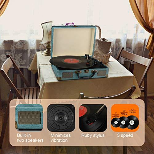 Tocadiscos Bluetooth de 3 velocidades con y Altavoces estéreos incorporados,...
