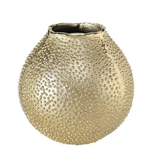 CasaJame Kugelvase Gold, Dekovase Metall, Vase Seeigel Vintage, Blumenvase, Bodenvase Deko, Tischvase 17x18cm