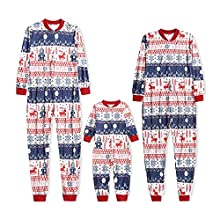 KMKM Conjunto de pijama de Navidad para familia, pijama de Navidad de dos piezas, largo para niños y adultos, manga larga, diseño de ciervo y pantalones largos, Rojo-b, XL