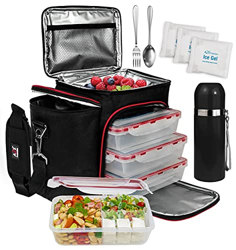 A2S Complete Meal Prep Lunch Box - 8 Pcs Set: Cooler Bag 3x Portion Control Bento Lunch Containers Leakproof 3 Compartments Microwavable BPA Free - Fork & Spoon - Thermos - 2x Ice Gel (Black/Red)