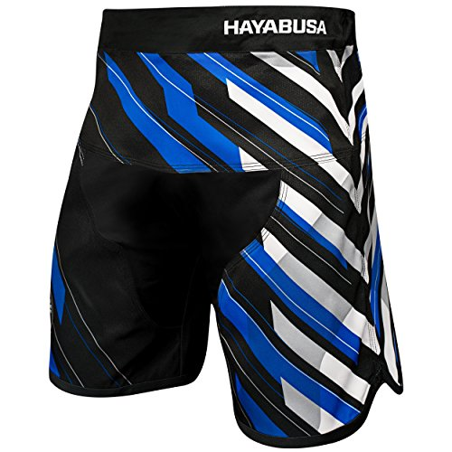 Hayabusa Metaru Charged Brazilian Jiu Jitsu and MMA Shorts (Black/Blue, 32)