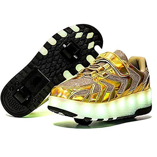 MEFKY Zapatos Monopatín LED con Ruedas Carga USB 7 Colores Luces Intermitentes Zapatillas Deporte Zapatillas Deporte Al Aire Libre Niños Niñas Zapatos De Espejo (Color : Gold, Size : 30)