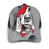 Gorra de Beisbol Espalda de Malla Senderismo al Aire Libre Sombrero Deportivo,Retrato de un perro Basset Hound en gorra roja con cámara en gris,Gorra de Sol de Enfriamiento para Hombres Mujeres
