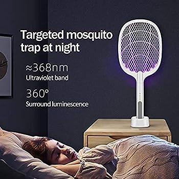 LGYKMU Électrique Mosquito Swatter Répulsif Tueur 3 en 1 3000V USB Rechargeable Mosquito Fly Tueur Bug Racket De Charge De Base Stand - Blanc A,Blanc