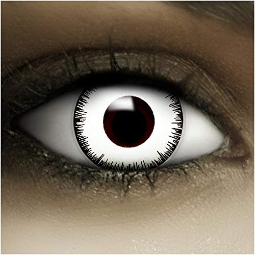 Farbige weiße Kontaktlinsen Vampir + Kunstblut Kapseln + Behälter von FXCONTACTS®, weich, ohne Stärke als 2er Pack - perfekt zu Halloween, Karneval, Fasching oder Fasnacht