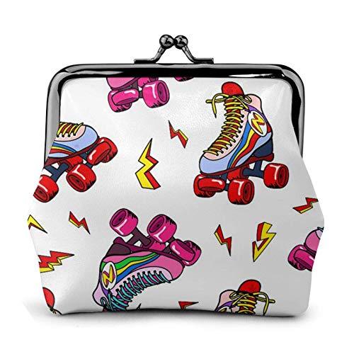 Bunte Rollschuhe Skate Geldbörse Geldbörse Schnalle Kiss-Lock Kleine Leder Wickeltasche Geschenk für Frauen
