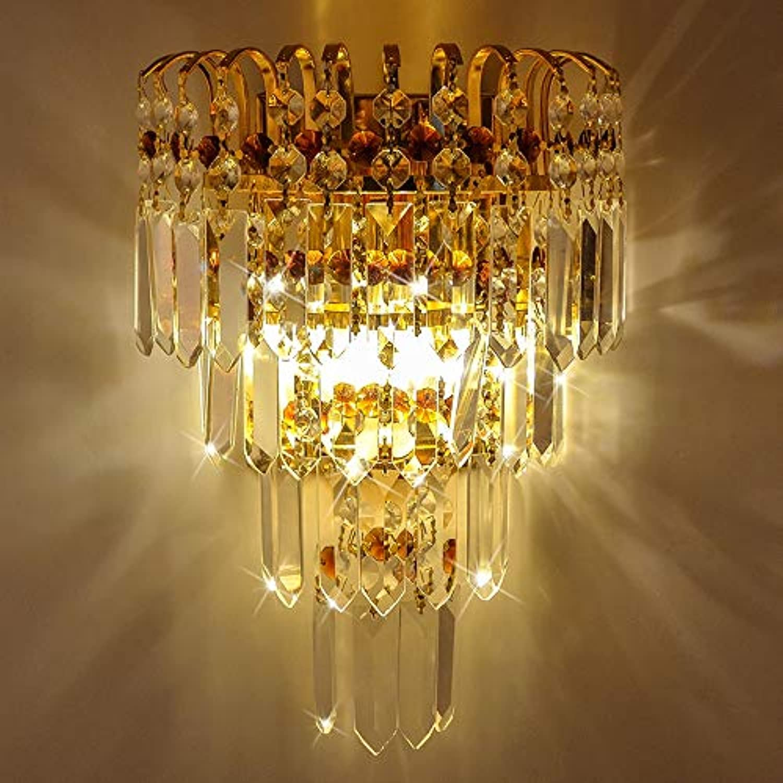 Wapipey 2-Lights Kristall Wandleuchte Wandleuchte Nachttischlampe Schlafzimmer Wohnzimmer Moderne Minimalistische Goldene Metallwandleuchte Wohnzimmer Hotel Dekoration Wandlaterne E14