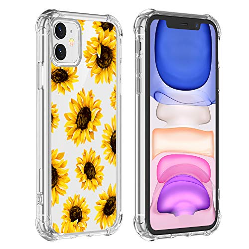 Hi Space Sunflower Clear Case Fit iPhone 11 Release 2019, Yellow Flowers Girls and Women Floral Back Cover, Transparent Flexible TPU Bumper Shockproof