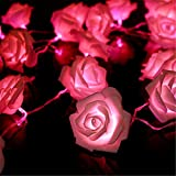 KINGSO Indoor String Pink Rose Lights 20 LED Battery Operated Flower Design Hanging Outdoor String Lights for Wedding Garden Christmas Decor Pink