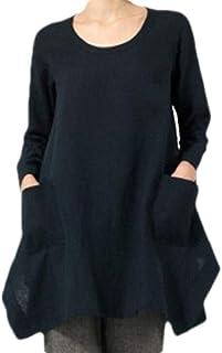 Yeirui Women Cotton Linen Plus Size O-Neck Asymmetric Long Sleeve Tops Blouse