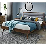 DG Casa Orlando Mid Century Modern Platfrom Bed Frame with Tufted Upholstered Headboard, Queen Size in Grey Fabric