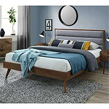 DG Casa Orlando Mid Century Modern Platfrom Bed Frame with Tufted Upholstered Headboard Queen Size in Grey Fabric