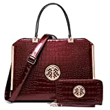 Dasein Women Large Handbag Purse Vegan Leather Satchel Work Bag Shoulder Tote with Matching Wallet (Wine Croco)
