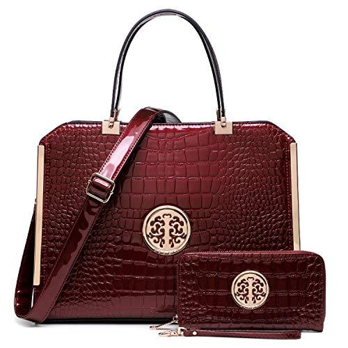 Dasein Women Large Handbag Purse Vegan Leather Satchel Work Bag Shoulder Tote with Matching Wallet (Wine Croco)