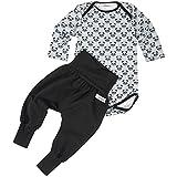 "Lilakind"" Baby Jungen 2 TLG. Set Body Panda + Pumphose Babyhose Schwarz Jersey Baumwolle Geschenk Geburt Gr. 62/68- Made in Germany"