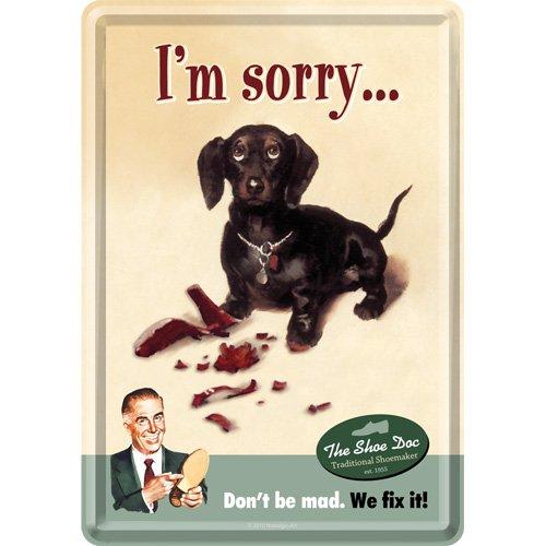 Nostalgic-Art 10106 Animal Club - I'm Sorry, metalen ansichtkaart 10x14 cm