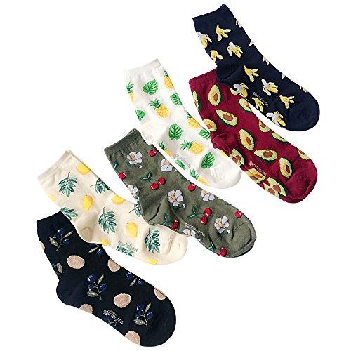 Froomer 6 Paar Socken Wintersocken Stricksocken Baumwolle Damensocken * Avocado Kirsch Zitrone Banane Orange Ananas