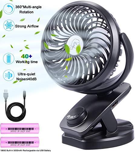 Ausein USB Ventilator (5000mAh insgesamt) klein,Tischventilator leise, max.32 Std, 360 °drehbar schwenkbar, Schreibtischventilator akku, mini Clip Fan für Büro, Kinderwagen, Schreibtisch, Camping