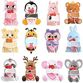 48 Pieces Valentines Day Cards with Animal Designs Valentine's Greeting Cards Candy Holder Cards for Kids Valentine Classroom Exchange Cards Party Favors