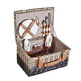 VonShef Korbgeflechter Picknickkorb für 2 Personen- Enthält Besteck (Gabel, Messer & Löffel), Teller, Weingläser, Servietten - Ideal für Strandausflüge & Camping