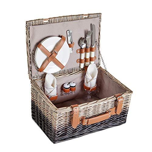 VonShef Cesta de Picnic para 2 Personas - Cesta Rústica de Comedor de Mimbre en 2 Tonos- Incluye Cubiertos, Platos, Copas de Vino, Manta Impermeable y Abrebotellas - Ideal para Viajes y Camping