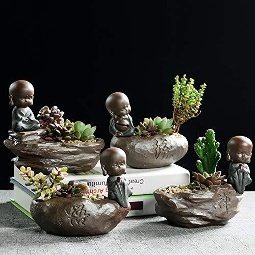 SONGDA Mini Monje Creativo macetas suculentas, Materiales cerámicos Gruesos, decoración de Mesa pequeña, Oficina, decoración de jardín,4 Combinations