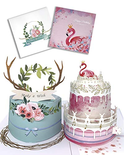 Dreamy Birthday Card Flamingo Cake & Forest Floral Deer Antler (2 Design Cards), 3D Pop Up Birthday Cards, Happy Birthday Greeting Cards for Twins Women Mom Wife Sister Daughter Kids Boy Girl Friend