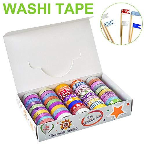 50 Rolls Glitter Washi Tape Set, Washi Masking Decorative Tapes, Washi Masking Great DIY Decor Scrapbooking Sticker Masking Paper Decoration Tape School Party Supplies Photo #6
