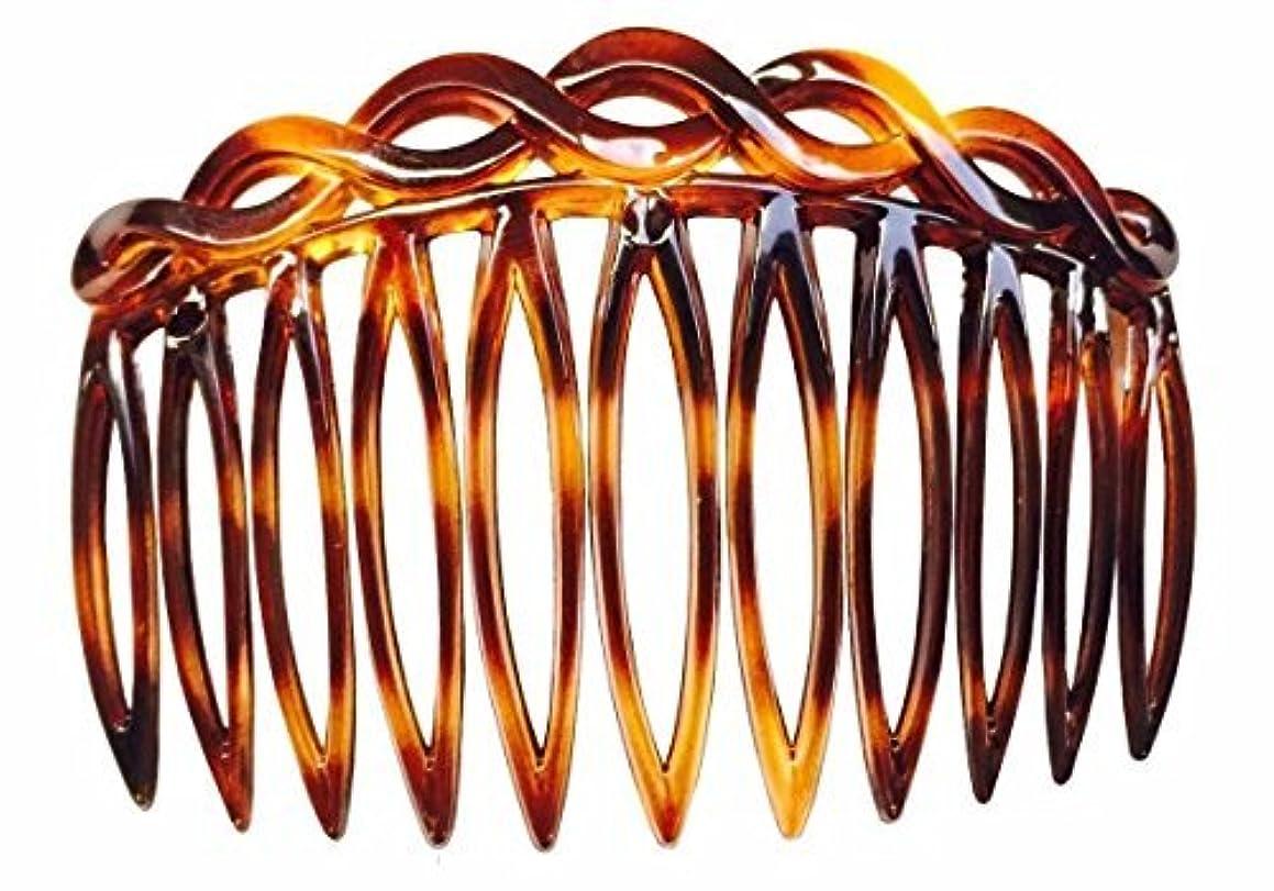 リテラシーボート常習者Parcelona French 2 Pieces Open Curved Celluloid Shell Side Hair Combs - 3 Inch (2 Pcs) [並行輸入品]