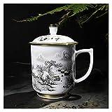Tazza da tè in Ceramica in Ceramica Pittura Cinese Jingdezhen Blu e Bianco Tazza di tè in Porcellana Set per Regalo e Ufficio Domestico (Color : White)