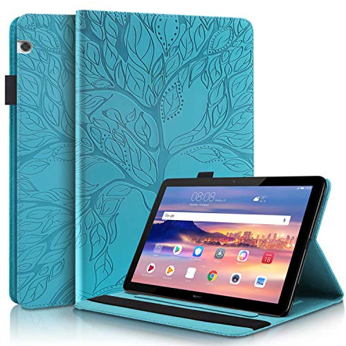 KSHOP Compatible con Funda Huawei T5,Huawei Mediapad T5 10 10.1 Inch Tablet 2018 Carcasa con Auto-Sueño/Estela Azul