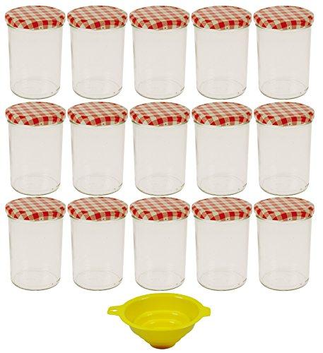 Viva Haushaltswaren - 15 x großes Marmeladenglas / Einmachglas 440 ml mit Deckel, Twist-off Gläser Set rund - als Einweckgläser, Vorratsdosen etc. verwendbar (inkl. Trichter)