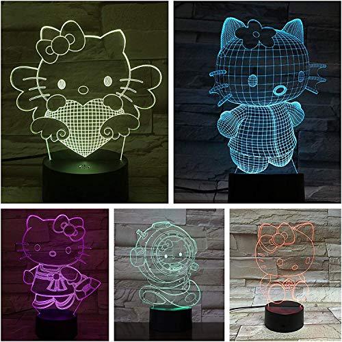 Schreibtischlampe Nachttisch Hello Kitty Cartoon Lampara 3D Illusion Kinder Kinder Geschenk Dekorative Lichter Tier Katze Nachtlicht LED Dekor A-1772